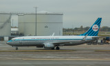 KLM B-737-800 in retro livery arriving at LHR