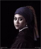 actor/model portrait photo in 'old masters' style of Johannes Vermeer's Girl with Pearl Earring