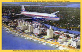 1952 - a postcard depicting a Delta Air Lines DC-6 flying off of Miami Beach enroute to Atlanta, Cincinnati and Chicago