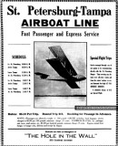 1914 - advertisement for St. Petersburg-Tampa Airboat Line, the first commercial winged air service