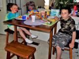 May 2013 - Kyler and his buddy Kamen having lunch at Karen's home
