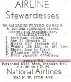 1950's or early 1960's - National Airlines newspaper advertisement for stewardesses