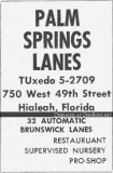 1959 - ad for the beautiful Palm Springs Lanes from the 1959 Hialeah High Record