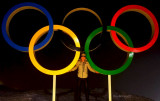February 2014 - Brenda's Olympian son Justin Reiter and the Olympic Rings at Sochi, Russia