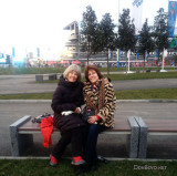 February 2014 - Brenda and Linda on an Olympic bench in Sochi, Russia