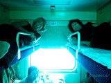 February 2014 - Brenda and Linda in their upper sleeper car berths on their 25-hour train ride from Moscow to Sochi, Russia