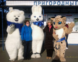 February 2014 - Linda and Brenda with the Olympic critters at the 2014 Winter Olympics in Sochi, Russia