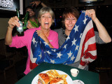 February 2014 - Brenda Reiter and Linda Grother celebrating their return to the USA at Bryson's Irish Pub