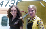 1974 - Debbie Cicirelli (now Burak) (left) with her friend Barb Gilot (right), then National Airlines flight attendants