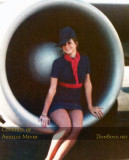 ONA stewardess Arnelle J. Pappas sitting in an engine of Overseas National Airways DC8-63 N866F Sovereign