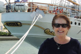 June 2014 - Karen at the stern of the USCGC EAGLE (WIX-327) at the new Museum Park in downtown Miami