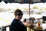 June 2014 - Karen at Garcia's Seafood Grille and Fish Market on the Miami River