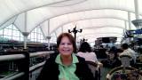 June 2014 - Karen having lunch at the Pour la France! restaurant in the Jeppeson Terminal at Denver International Airport