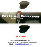 Rick Shaw Productions business card with telephone and e-mail address
