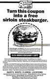 1990 - coupon ad for 6th anniversary of Rudy's Sirloin Burgers