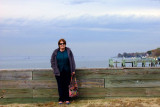 November 2014 - Karen at the Kentmorr Restaurant and Crab House with the Chesapeake Bay Bridge in the background