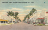 1949 - postcard depicting Lincoln Road looking east from Lenox Avenue with the Colony Theatre on the right, Miami Beach