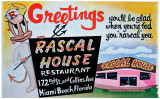 1950's-1960's - restored postcard for the Rascal House Restaurant in Sunny Isles