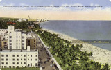 1942 - postcard image looking north on Ocean Drive with Lummus Park and the Netherland Hotel