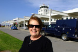 June 2015 - Karen at the passenger terminal at the Greater Binghamton Airport (Edwin A. Link Field)