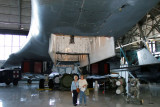 June 2011 - Esther Criswell and Karen standing under the weapons bay of the Rockwell B-1A Lancer bomber prototype