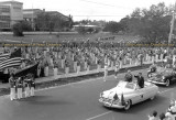 1948-49 - President Harry S Truman in motorcade in front of Miami High School