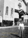 1952 - Stephen Schweitzer at age 5 in front of the original Saint Mary's Catholic Church