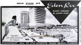1960's - newspaper advertisement for the Eden Roc Hotel on Miami Beach