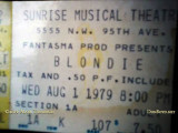 August 1, 1979 - Sunrise Musical Theatre ticket stub for the Blondie concert event
