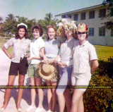 1962 - Pam Milu, Ava Frosh, Margaret Love, unknown and Jill Bibeault before the ICS 8th grade beach party