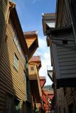 Alleyway in Bryggen, Bergen, Norway.