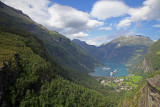 Geiranger Fjord from Flydal Viewpoint, Norway.