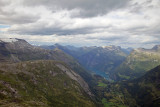 Distant view of Geiranger Fjord from Mt. Dalsnibba, Norway.