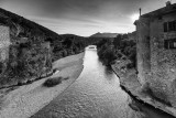 Eygues River flowing through Les Pilles  village (Drôme-France)