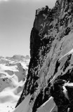 Profil de la paroi du Doigt de Pombie en hiver