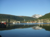 A view of Tromso harbour including Arctic Cathedral