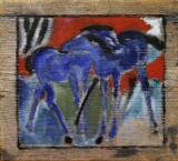 Blue horses painted on wood, Franz Marc
