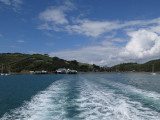 Had a wonderful day on  Waiheke Island.  Here we are departing Matiatia Bay for Auckland City