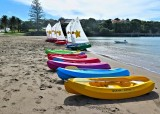 Optimists and kayaks waiting for the school kids to arrive  for their Watercare lessons