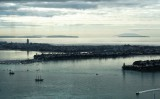 This photo looks more to the north. Here you can see Little Barrier behind Tiritiri Island.  Then Whangaparaoa, and further north, with Bayswater and Takapuna on the North Shore in the foreground