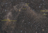 Jacob's Ladder - IC4633, IC4635 and IFN in Apus (also Sarah's Nebula) - Annotated Version