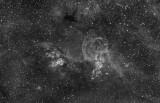 NGC 3576 (The Statue of Liberty Nebula), NGC 3603, NGC 3590 in Halpha