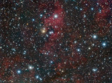 vdB 136, GN 20.36.5 (RNeb), LDN 906, Diamond Ring Cluster (IR OC), [KC97c] G081.5+00.6 (HII), TGU H491 P10 (DNeb); in Cygnus