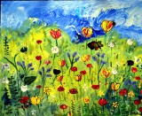 Sweet Meadow a mixed media painting by J. A. Fitzhugh