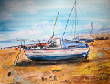 Boat painting from Ross-On-Sea Watercolour pen and ink for sale