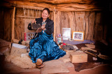 Native Weaver Works in a Hogan House