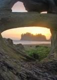 19 st james island sunset through log