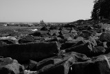 Schooner Past the Rocks Black and White.jpg