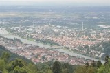 Heidelberg and the Neckar river as seen from the peak of Königstuhl
