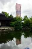 Bank of America Tower, Lan Su Chinese Garden, Portland, Oregon